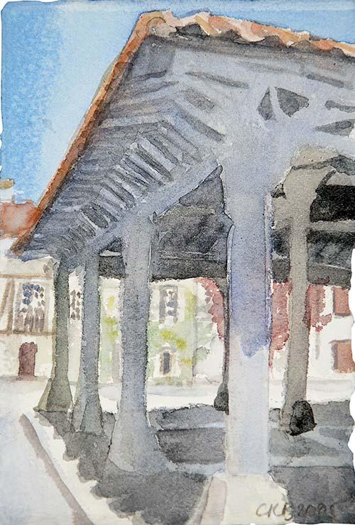 Aquarelle architecture Saint Félix Lauragais